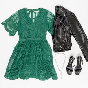 New Altar'd State Green Lace Dress